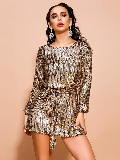 Missord Fitted Sequin Dress With Belt