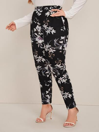 Plus Elastic Waist Slant Pocket Floral Print Pants