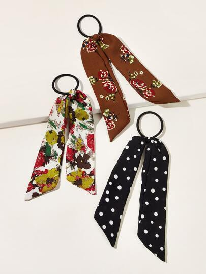 3pcs Flower & Polka Dot Pattern Hair Tie