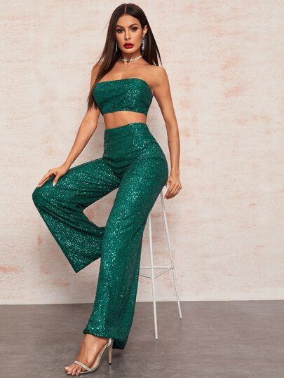 Zipper Back Sequin Crop Tube Top & Palazzo Pants Set