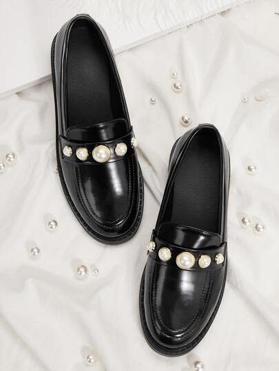 Faux Pearl Decor Flat Loafers