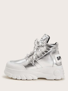 Letter Patch Metallic Chunky Sneakers