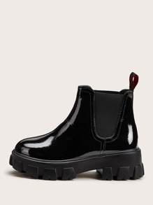 Patent Leather Lug Sole Chelsea Boots