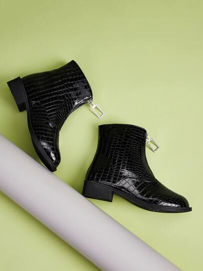 Zip Front Croc Embossed Ankle Boots