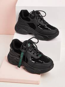 Letter Tape Lace-up Front Chunky Sneakers