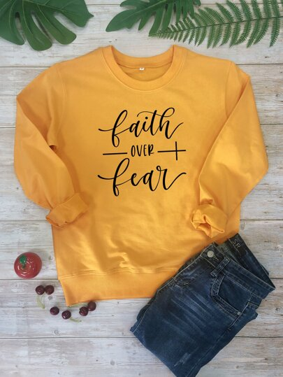 Slogan Graphic Long Sleeve Sweatshirt