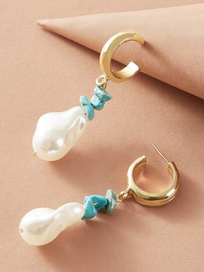 1pair Faux Pearl Decor Drop Earrings