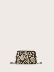Mini Snakeskin Chain Crossbody Bag