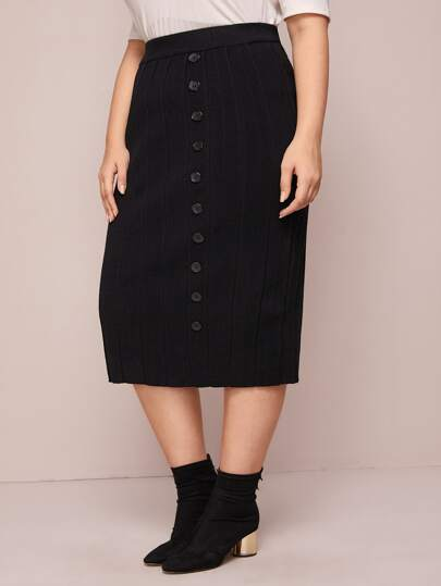 Plus Button Front Rib-knit Sweater Skirt