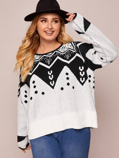 Plus Tribal Oversized Sweater