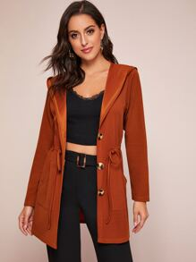 Solid Drawstring Waist Hooded Coat