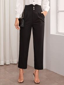 High Waist Button Fly Tailored Pants