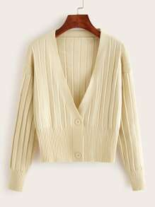 Solid Double Button Ribbed Knit Cardigan