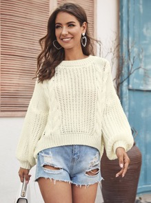 Solid Cable Knit V-Cut Back Jumper