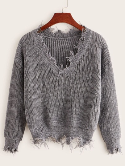Solid V-neck Frayed Hem Jumper
