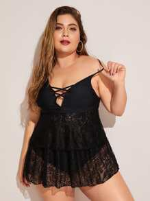 Plus Contrast Lace Criss Cross Top With High Waist Tankini