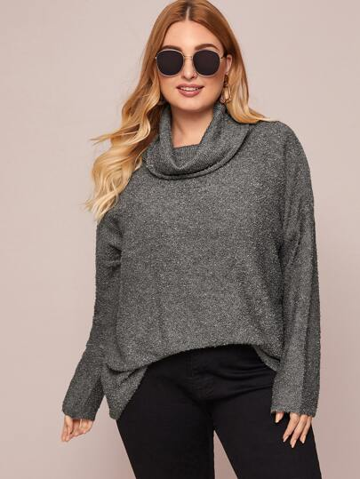 Plus Funnel Neck Oversized Sweater