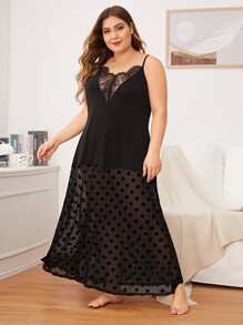Plus Polka Dot Contrast Mesh Night Dress