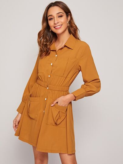 Button Front Elastic Waist Shirt Dress