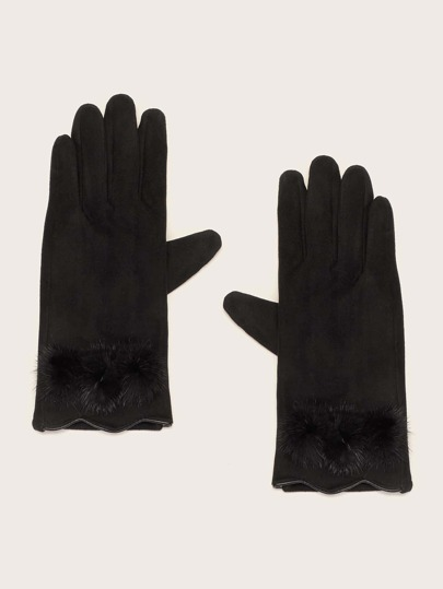 1pair Fluffy Trim Gloves