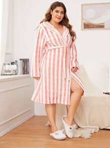 Plus Striped Belted Hooded Robe