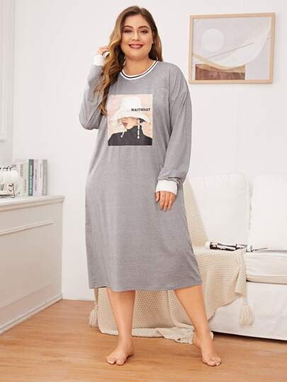Plus Figure Graphic Night Dress
