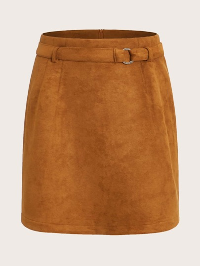 Solid Belted Zip Back Suede Skirt
