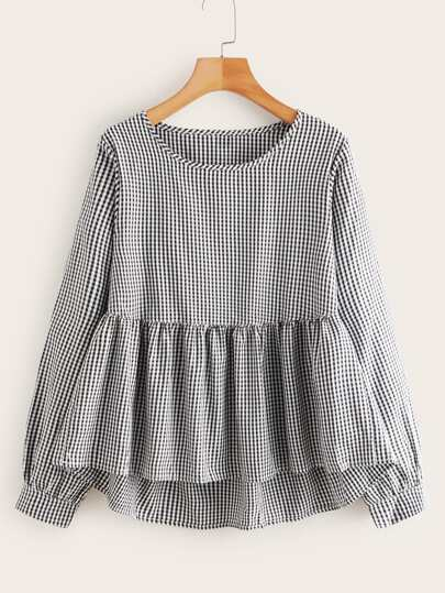 Gingham High Low Peplum Blouse
