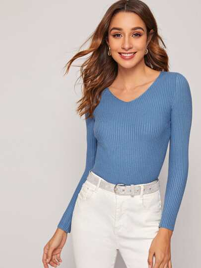 Solid Ribbed Knit V-Neck Sweater