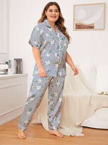 Plus Striped & Floral Print Satin PJ Set