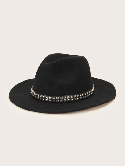 Studded Band Decor Floppy Hat
