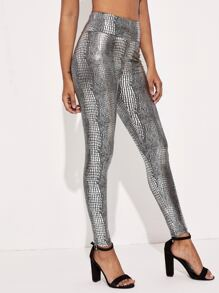 Wide Waistband Crocodile Metallic Leggings