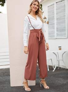 Solid Belted Wide Leg Pinafore Pants
