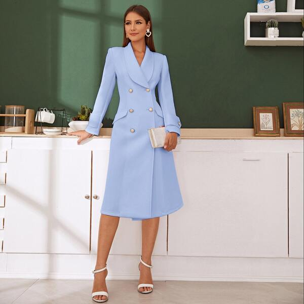 Shawl Collar Double Breasted Blazer Dress, Blue pastel
