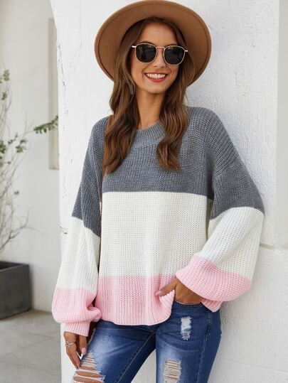 Color-Block Ribbed Knit Bishop Sleeve Sweater