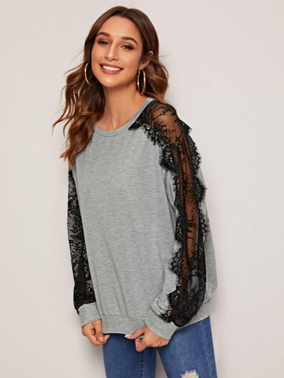 Lace Panel Raglan Sleeve Sweatshirt
