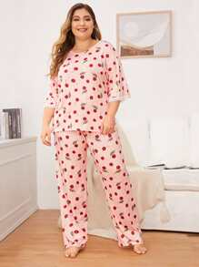 Plus Cherry Print Lace Trim PJ Set