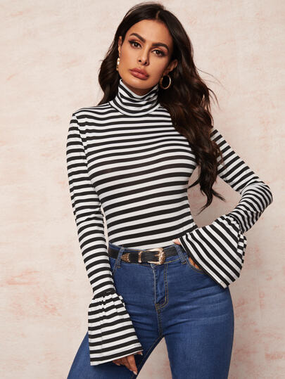 High Neck Striped Fitted Tee