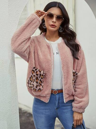 Zip Up Contrast Leopard Teddy Jacket