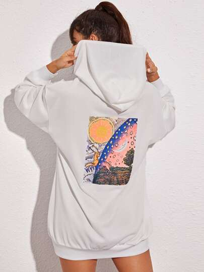 Galaxy Print Drop Shoulder Hoodie Dress