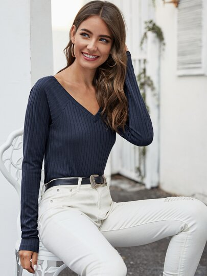 V-Neck Raglan Sleeve Rib-knit Top