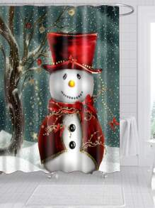 Christmas Snowman Print Shower Curtain