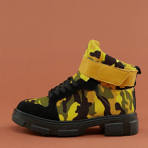 Lace Up Velcro Strap Lug Sole Camo Military Boots, Multicolor