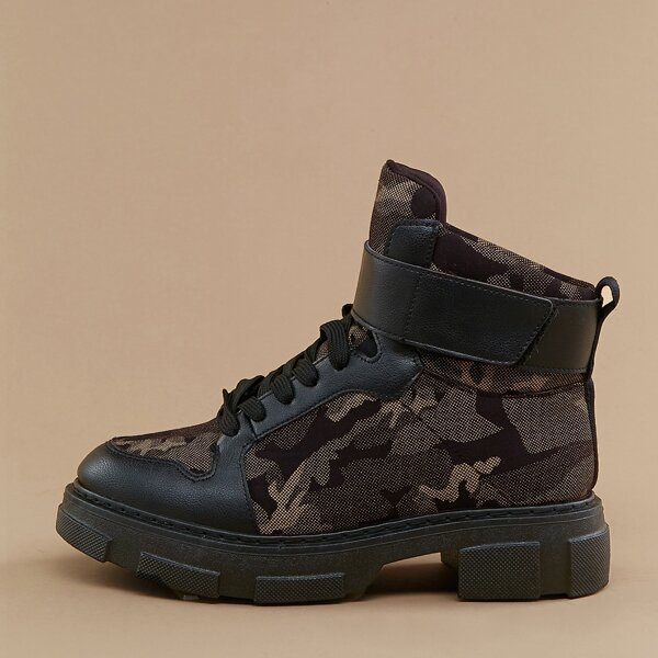 Lace Up Velcro Strap Lug Sole Camo Combat Boots, Black