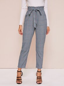 Paperbag Waist Self Belted Glen Plaid Cigarette Pants