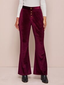 Velvet Solid Button Front Flare Pants