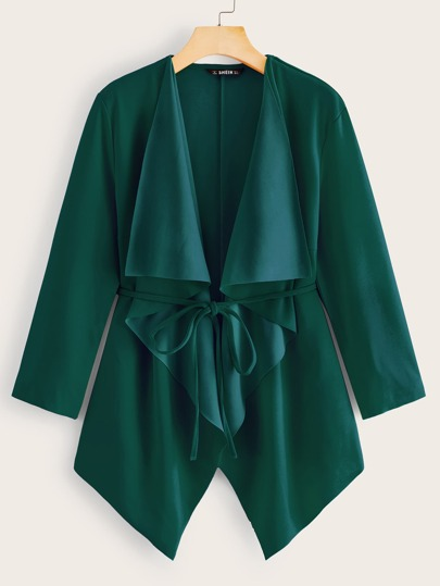 Waterfall Collar Asymmetrical Hem Belted Coat