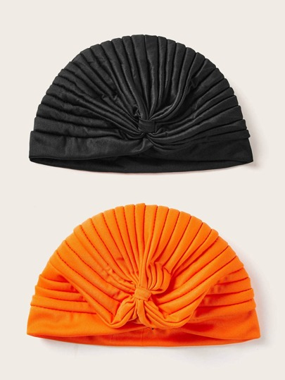 2pcs Pleated Turban Hat
