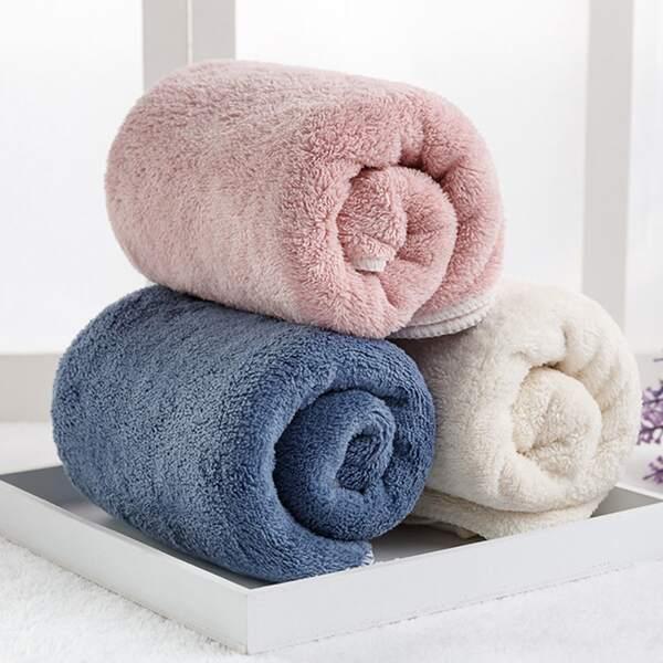 1pc Solid Color Absorbent Towel, Multicolor