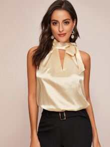 Satin Tie Neck Peekaboo Tank Top